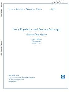 entry regulation and business start   ups   evidence from mexico Book