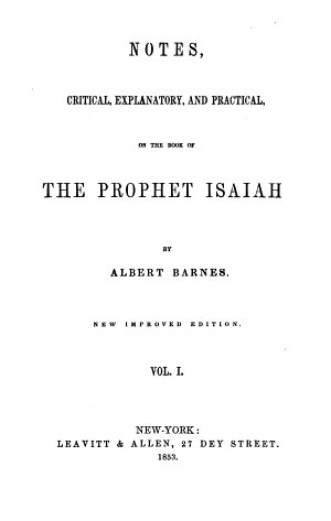 Notes on the Book of Prophet Isaiah