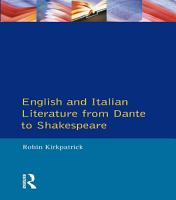 English and Italian Literature From Dante to Shakespeare PDF