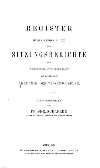 Sitzungsberichte der Kaiserlichen Akademie der Wissenschaften  Philosophisch Historische Classe PDF