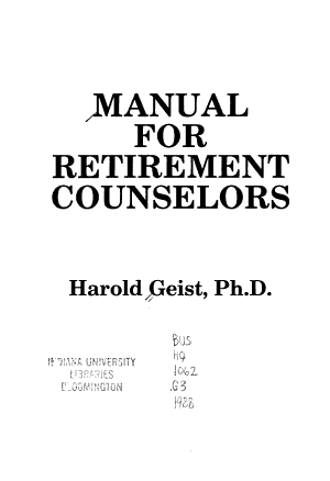 Manual for Retirement Counselors PDF