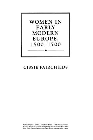 Women in Early Modern Europe  1500 1700 PDF