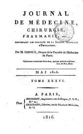 Journal de médecine, chirurgie, pharmacie: Volume36