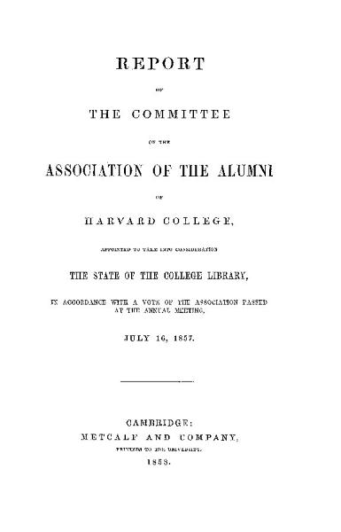Download report of the committee of the association of the alumni of harvard college Book