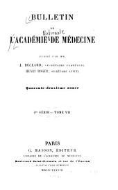Bulletin de l'Academie de médecine: Volume7