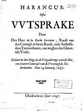 Harangue, ofte wtsprake door den heer de la Roche Servient, ... gedaen in den Hage, in de vergaderinge van de ... Staten Generael van de Vereenighde Nederlanden