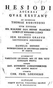 Hesiodi Ascraei quae exstant ex recensione Thomae Robinsoni