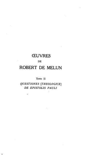 Download     Oeuvres de Robert de Melun     Book