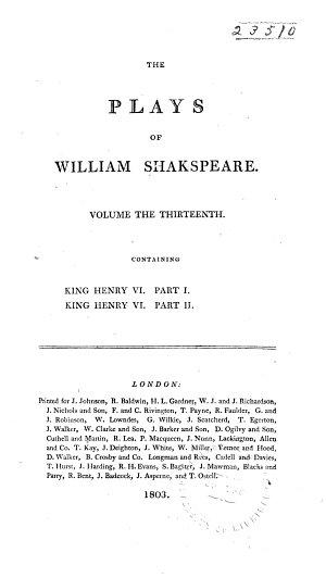 King Henry VI  part 1  King Henry VI  part 2