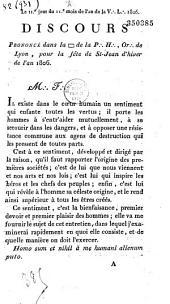 Discours Prononcé dans la [loge] de la P.: H.:, Or.: de Lyon, pour la fête de St-Jean d'hiver de l'an 1806: Le IIe jour du IIe mois de lan de la V.: L.: 1806