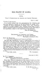 Seal Islands of Alaska: Letter from the Secretary of Commerce and Labor, Transmitting, in Response to House Resolution No. 73, Information Relating to the Seal Islands of Alaska