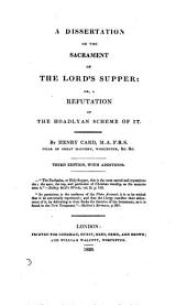 A dissertation on the sacrament of the Lord's supper
