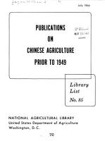 Publications on Chinese Agriculture Prior to 1949 PDF