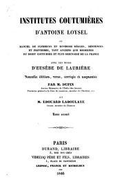 Institutes coutumières: Volume2