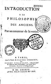 Introduction à la philosophie des anciens