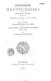 Chroniques dauphinoises et documents inédits relatifs au Dauphiné pendant la Révolution: 1788-1794-1810, Volume3