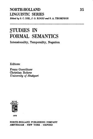 Studies in Formal Semantics