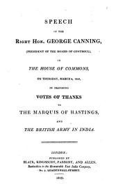 Speech ... in proposing votes of thanks to the marquis of Hastings and the British army in India