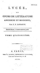 Lycée, ou Cours de littérature ancienne et moderne
