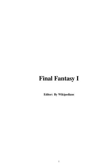 Final Fantasy I PDF