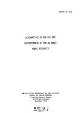 Report - United States, Bureau of Indian Affairs, Planning Support Group