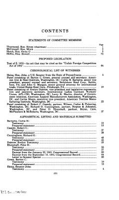 The Unfair Foreign Competition Act of 1985