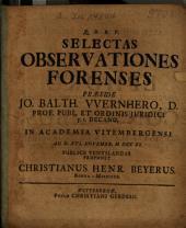 Selectae observationes forenses