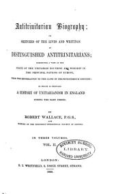 Sketches of the lives and writings of distinguished antitrinitarians
