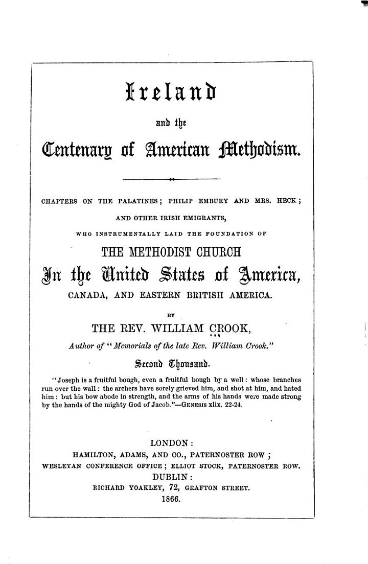 Ireland and the Centenary of American Methodism