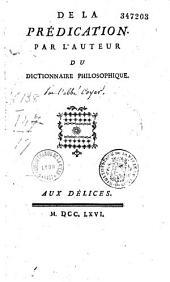De la prédication: par l'auteur du Dictionnaire philosophique [Voltaire]
