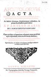 In acta apostolorum ponderationes