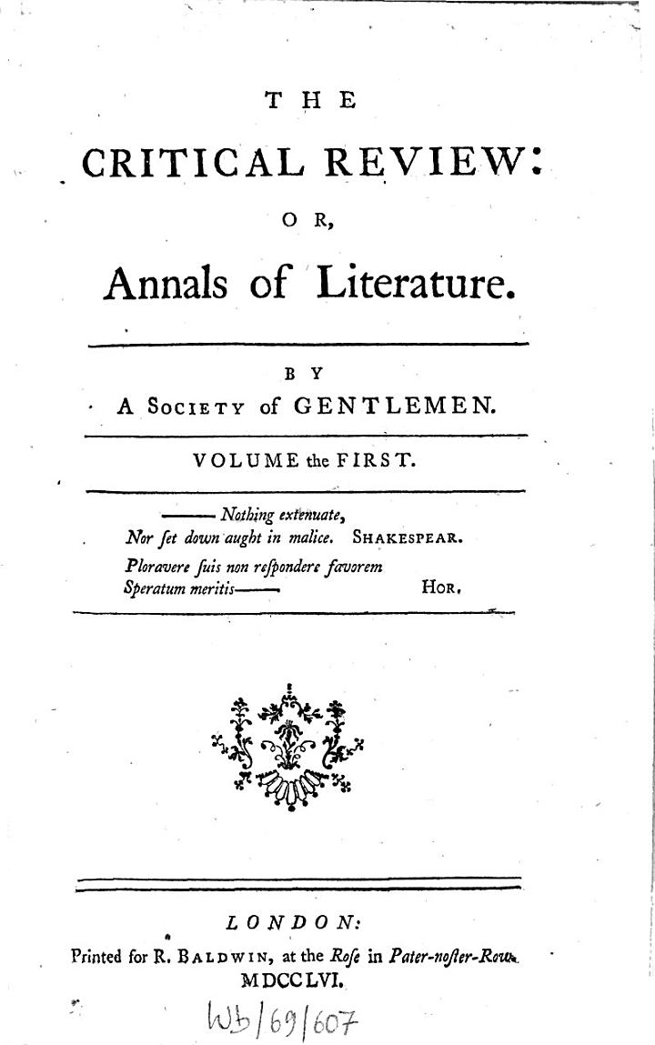 The Critical Review, Or, Annals of Literature [microform]