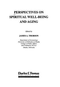 Perspectives on Spiritual Well being and Aging PDF