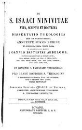 De s. Isaaci Ninivitae vita, scriptis et doctrina: dissertatio theologia