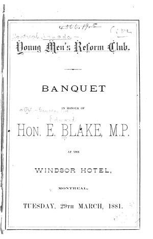 Banquet in Honour of E Blake M P