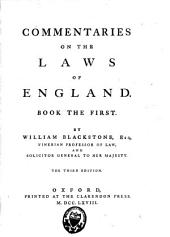 Commentaries on the Laws of England: Volume 1