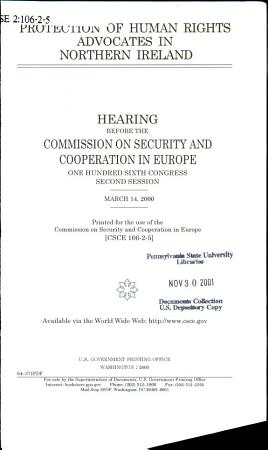 Protection of Human Rights Advocates in Northern Ireland PDF