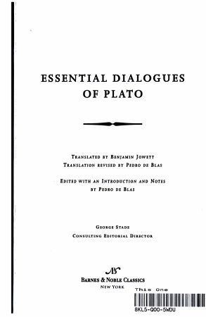 Essential Dialogues of Plato PDF