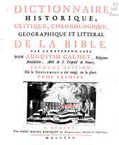 Dictionnaire historique, critique, chronologique, geographique et literal de la Bible