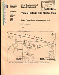 Lake Tahoe Basin  Tallac Historic Site Master Plan  El Dorado County PDF