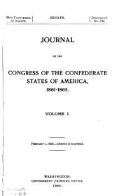 Journal of the Congress of the Confederate States of America, 1861-1865: Volume 1