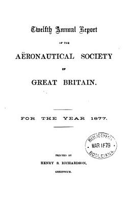 Annual Report of the Aeronautical Society of Great Britain PDF