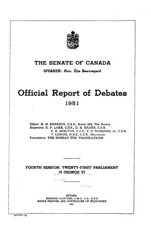 Debates of the Senate  Official Report  Hansard  PDF