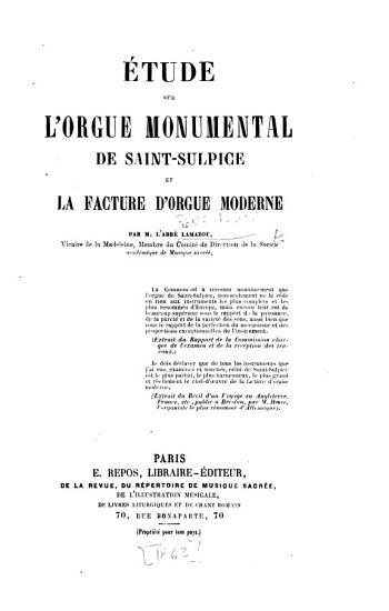tude sur l orgue monumental de Saint Sulpice et la facture d orgue moderne PDF