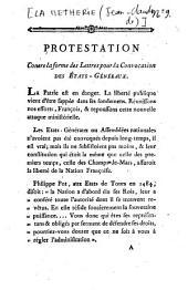 Protestations contre la forme des Lettres pour la Convocation des Etats-Généraux