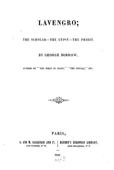 Lavengro  the Scholar the gypst the Priest PDF