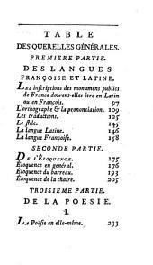 Quérelles littéraires: ou Mémoires pour servir à l'histoire des révolutions de la république des lettres depuis Homère jusq'à nos jours ...