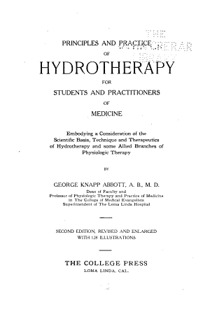 Principles and Practice of Hydrotherapy for Students and Practitioners of Medicine