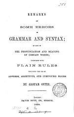 Remarks on some errors in grammar and syntax