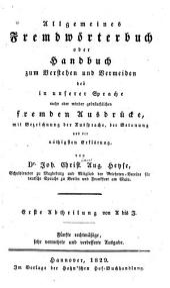 Allgemeines Fremdwörterbuch: Band 1